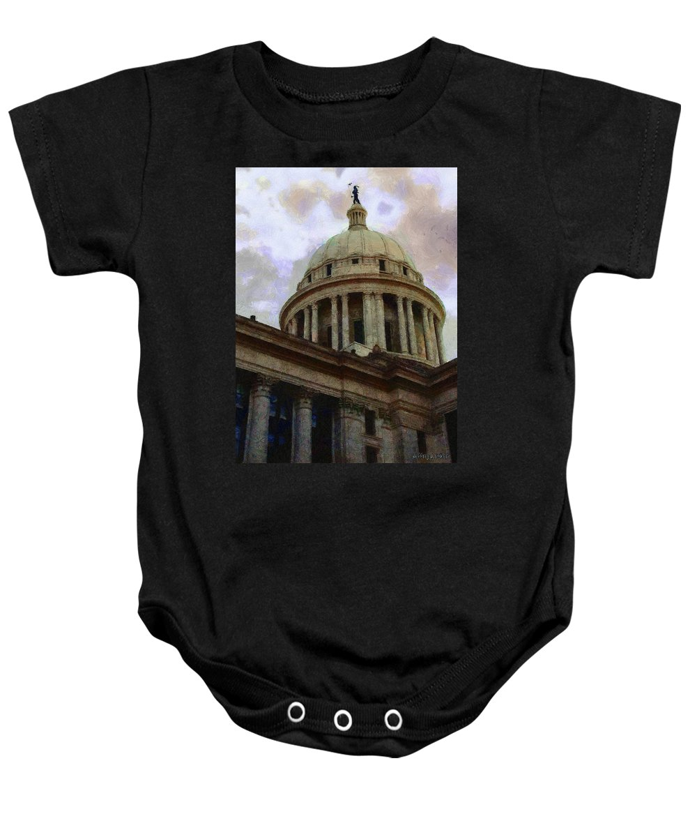 Architecture Baby Onesie featuring the painting Oklahoma Capital by Jeffrey Kolker