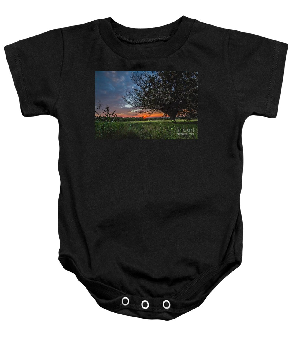 Clouds Baby Onesie featuring the photograph Oklahoma Sunset by Ashley M Conger