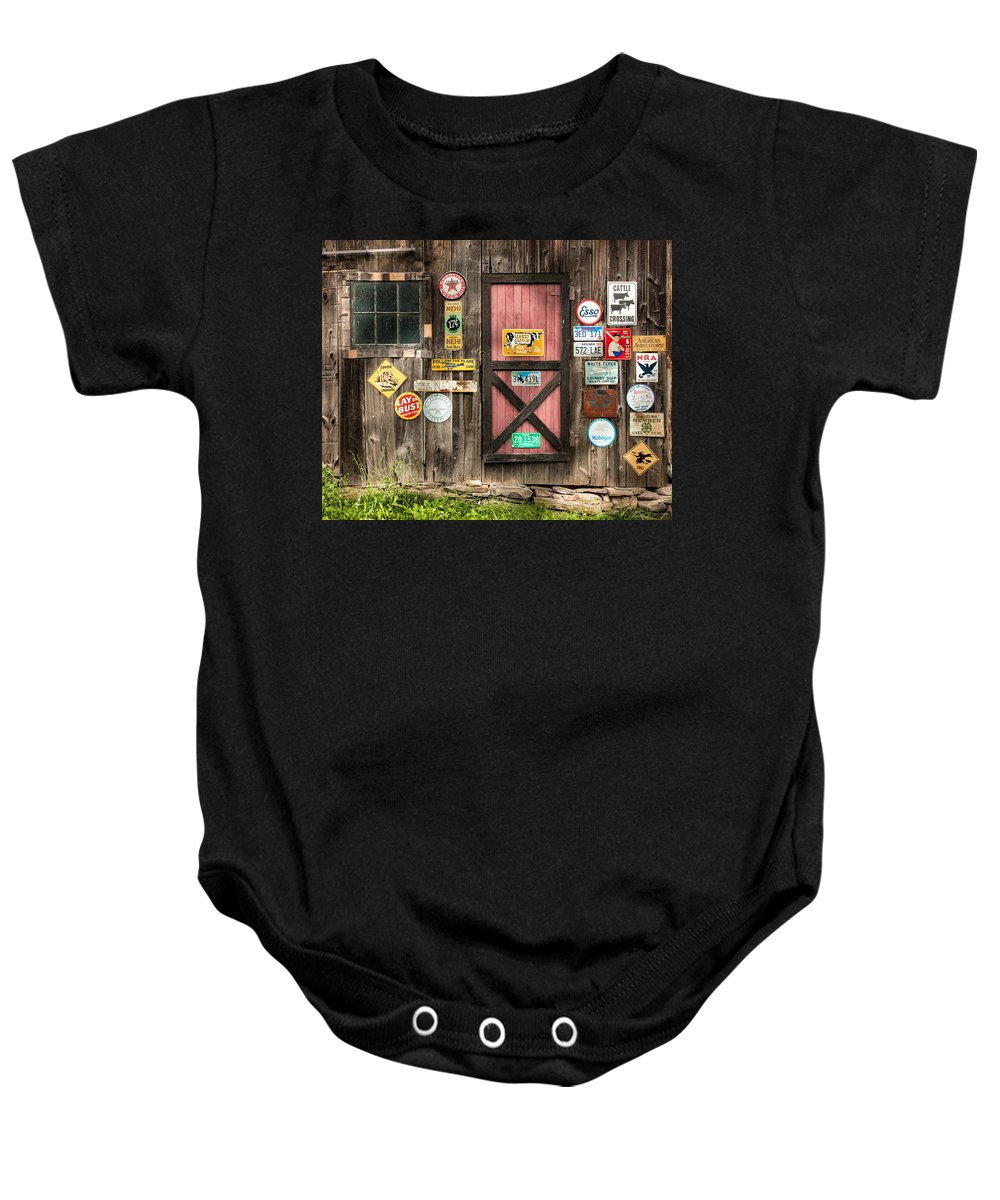 Old Signs Baby Onesie featuring the photograph Old Barn Signs - Door And Window - Shadow Play by Gary Heller