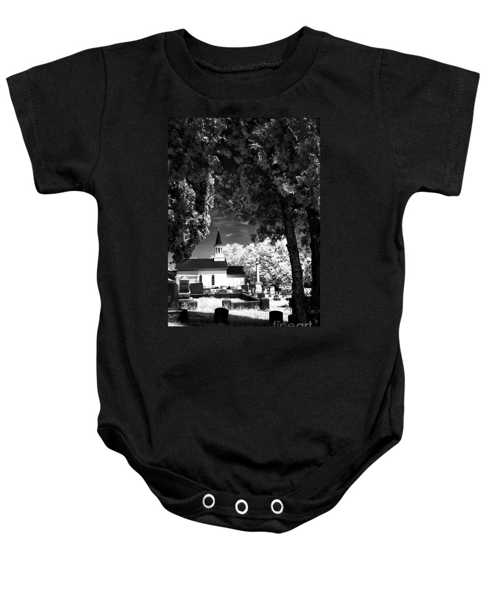 Infrared Baby Onesie featuring the photograph Old Country Church by Paul W Faust - Impressions of Light
