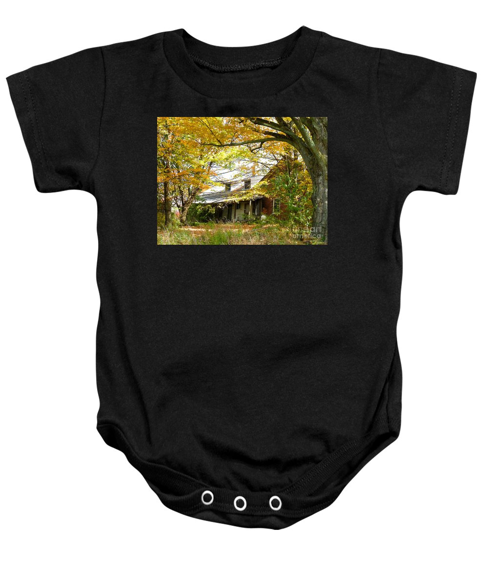 Autumn Baby Onesie featuring the photograph Old Farm House Behind Color by Deborah Benoit