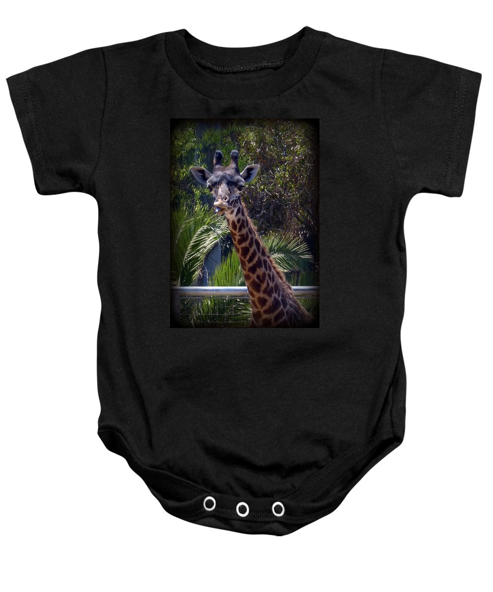 Giraffe Baby Onesie featuring the photograph Old Funny Face by Carla Parris