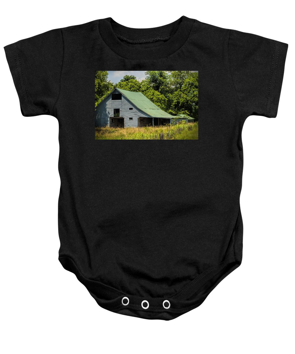 Gray Baby Onesie featuring the photograph Old Gray Barn by Kathy Clark