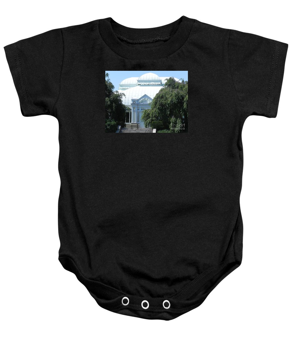 Photograph Baby Onesie featuring the photograph Old Historical Building At Botanical Gardens Of New York by Chrisann Ellis