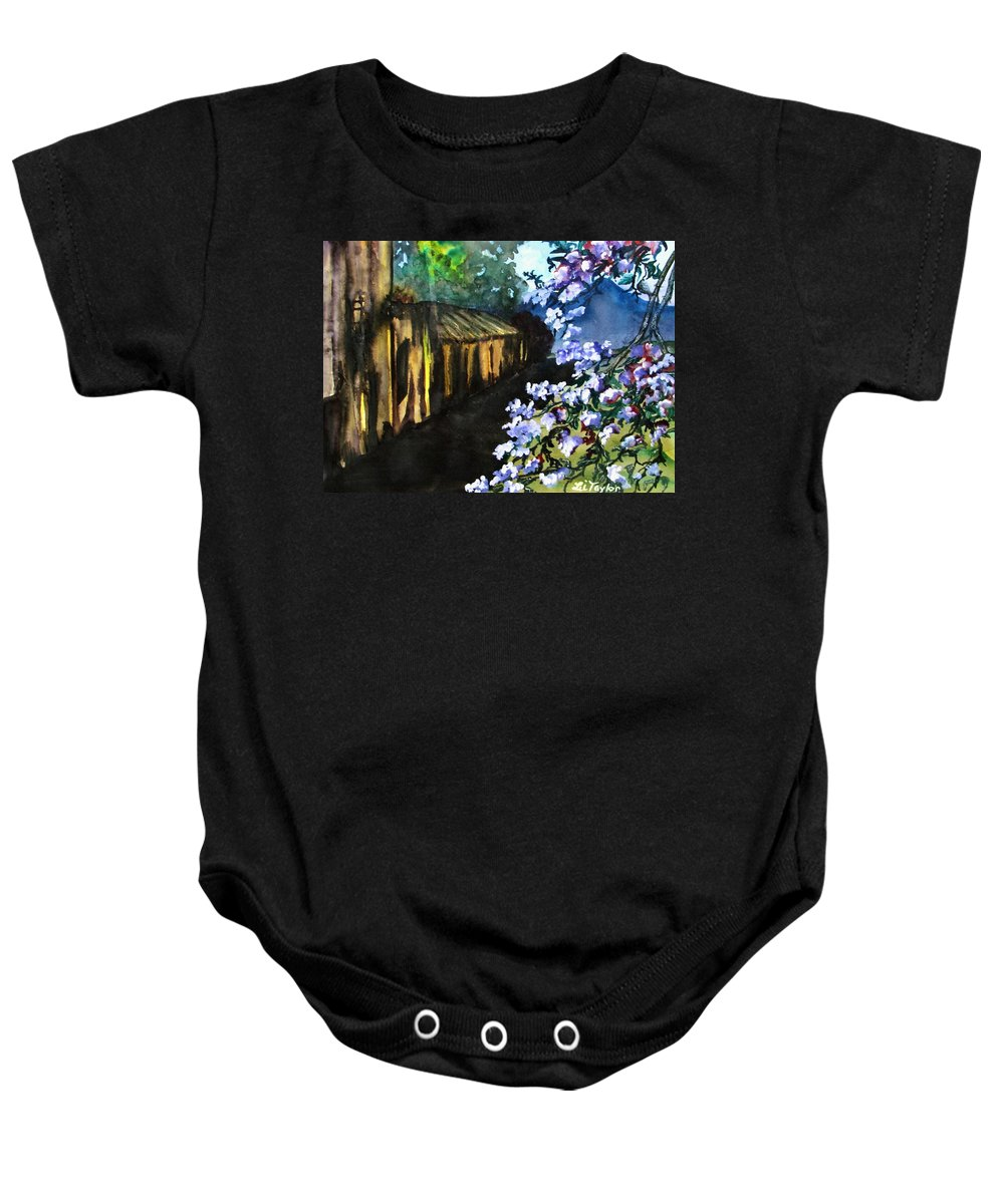 Flowers Baby Onesie featuring the painting Old House And New Flowers by Lil Taylor