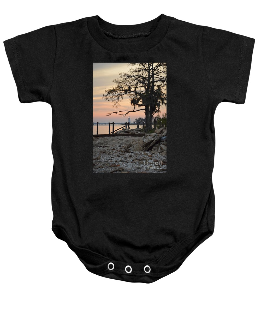 Landscape Baby Onesie featuring the photograph Old Lighthouse In Sunset by Xyldia Grace