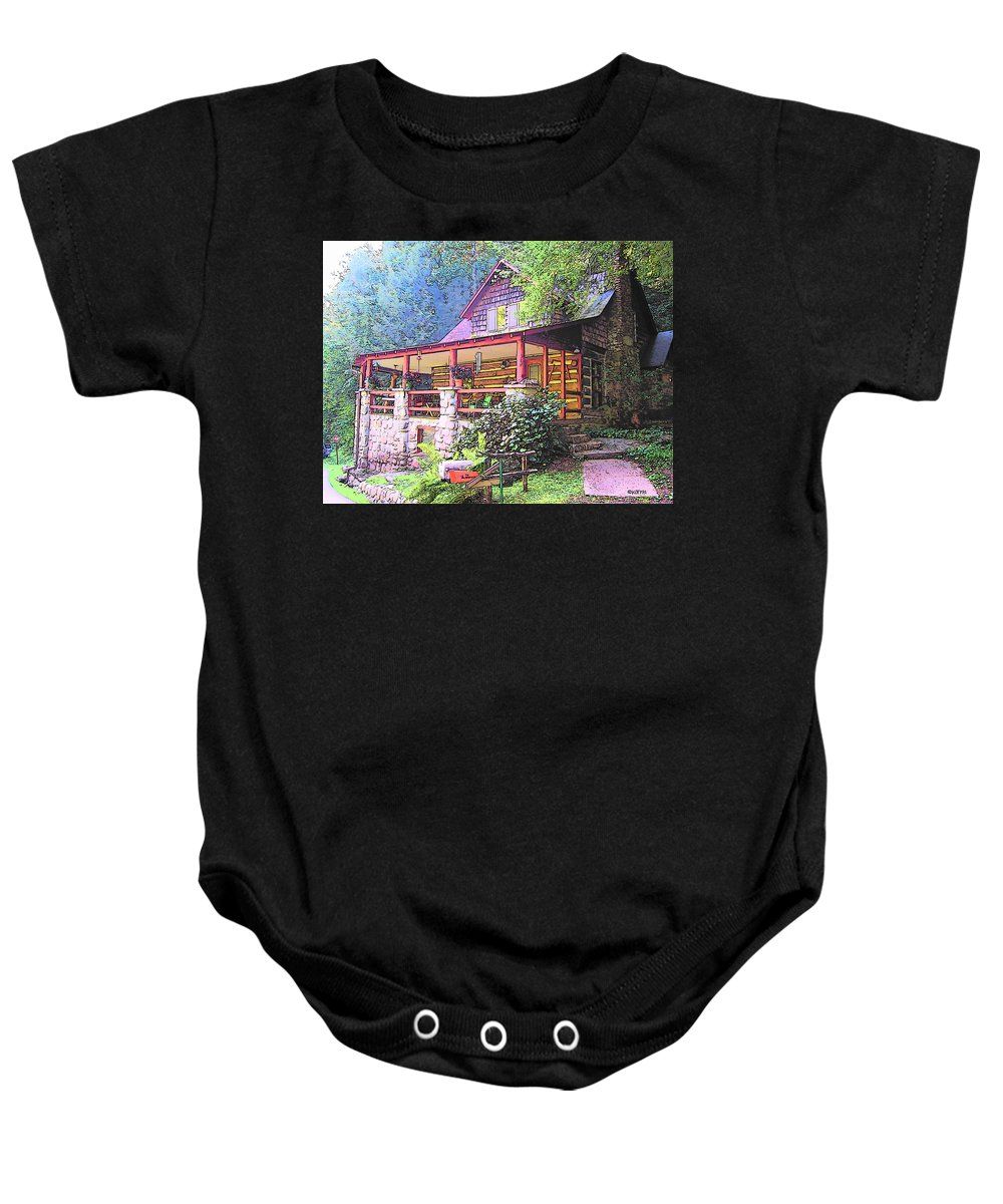 Old Log Cabin Baby Onesie featuring the photograph Old Log Cabin Home by Rebecca Korpita