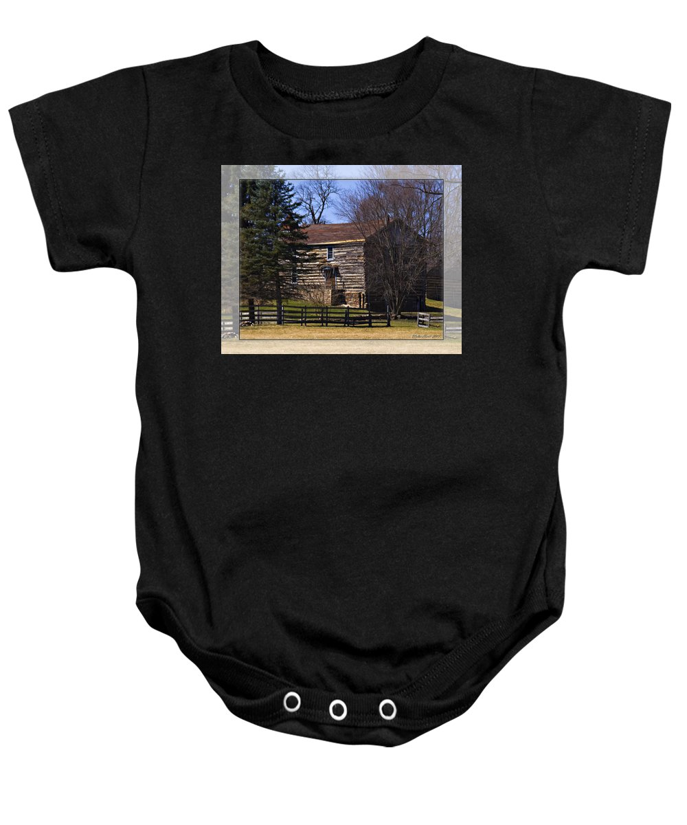 Old Log Home Baby Onesie featuring the photograph Old Log Home by Walter Herrit