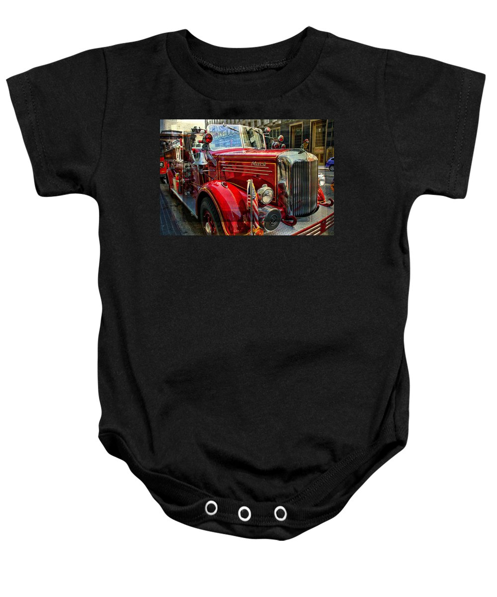 Firetruck Baby Onesie featuring the photograph Old Mack Firetruck by Alice Gipson