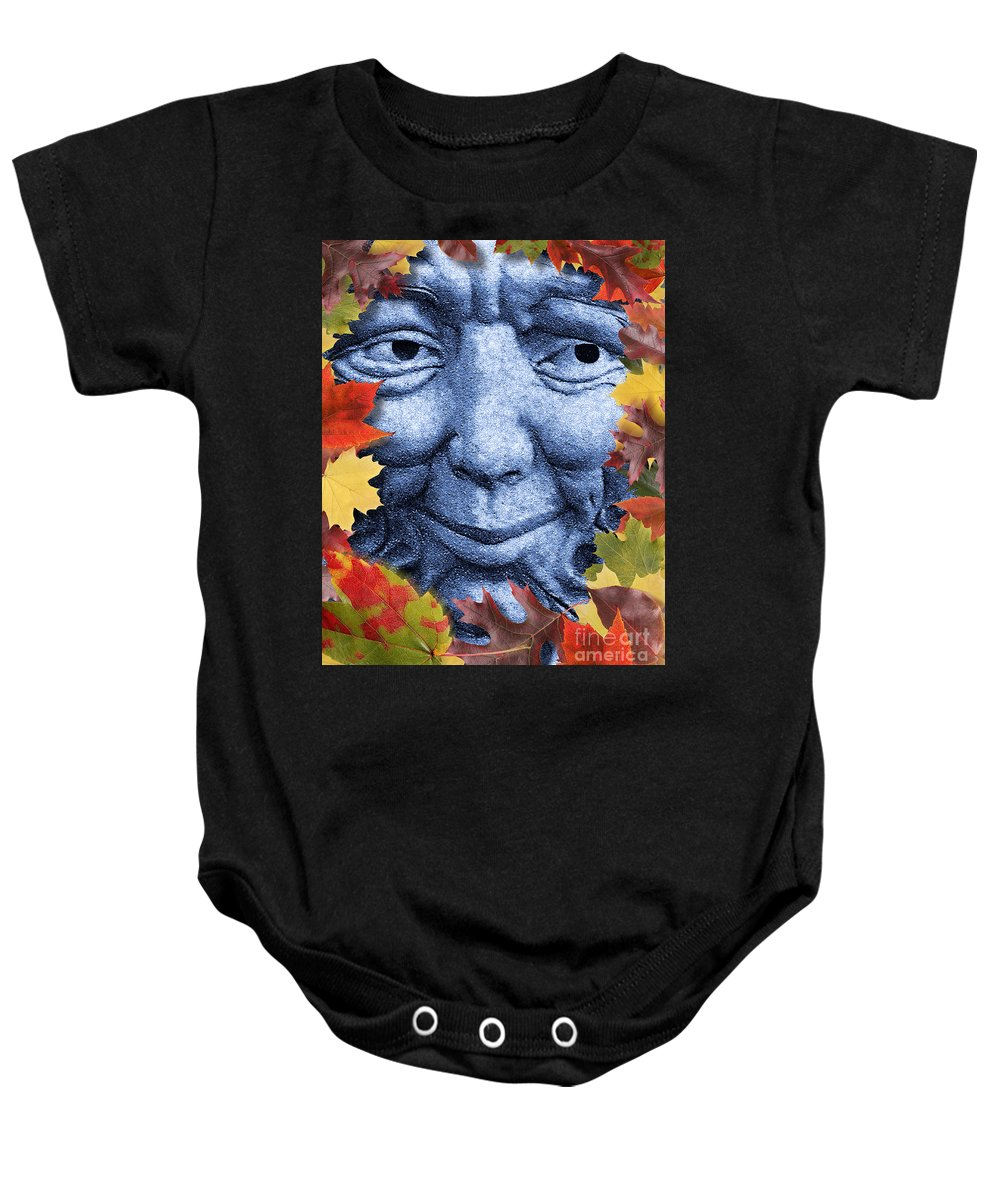 Winter Baby Onesie featuring the digital art Old Man Winter Is A Coming by Keith Dillon