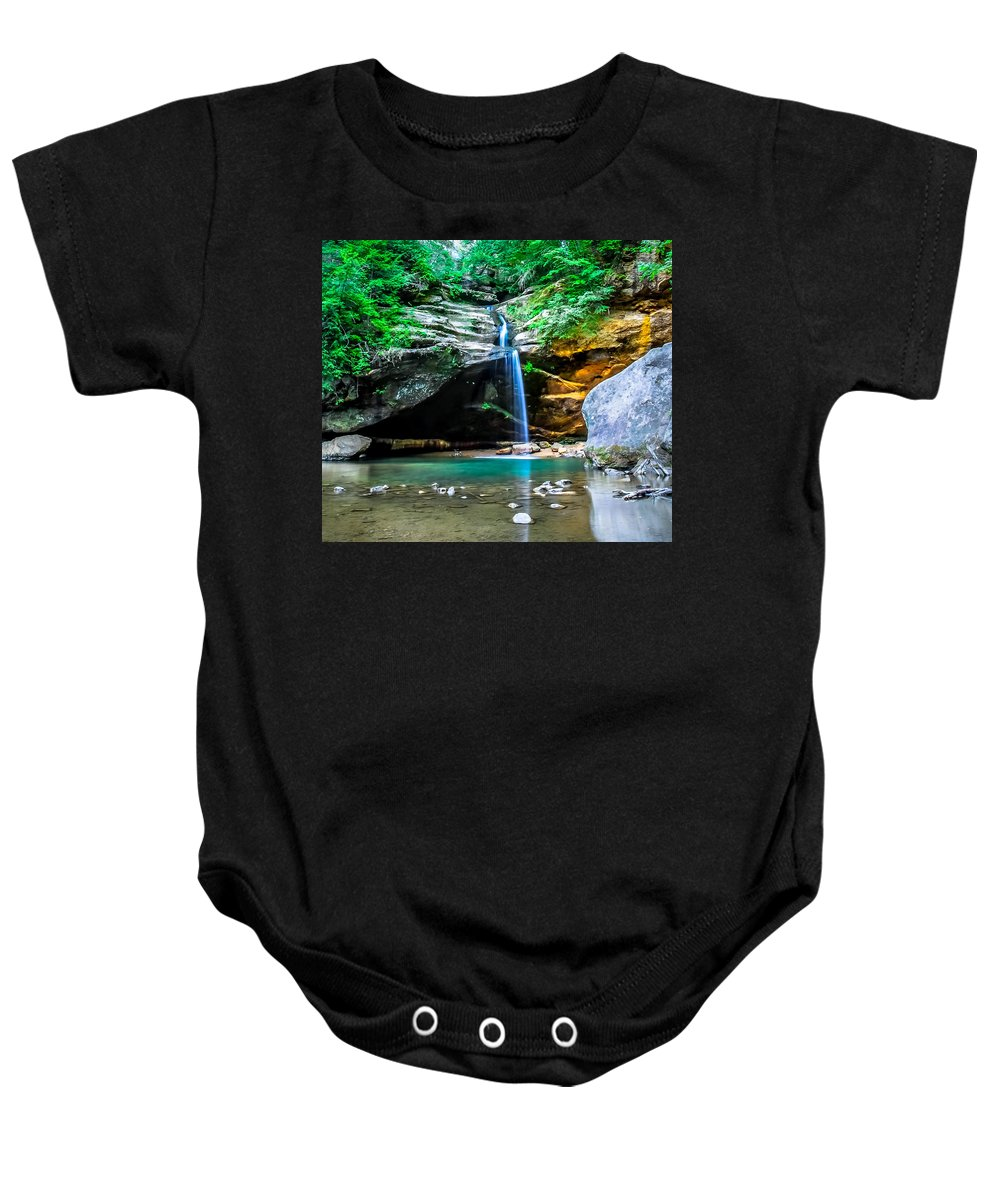 Optical Playground By Mp Ray Baby Onesie featuring the photograph Old Mans Cave Lower Falls by Optical Playground By MP Ray