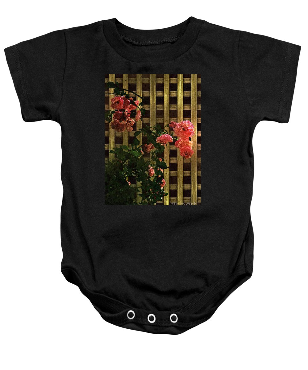 Lattice Baby Onesie featuring the painting Old Roses, Old Wood by RC DeWinter