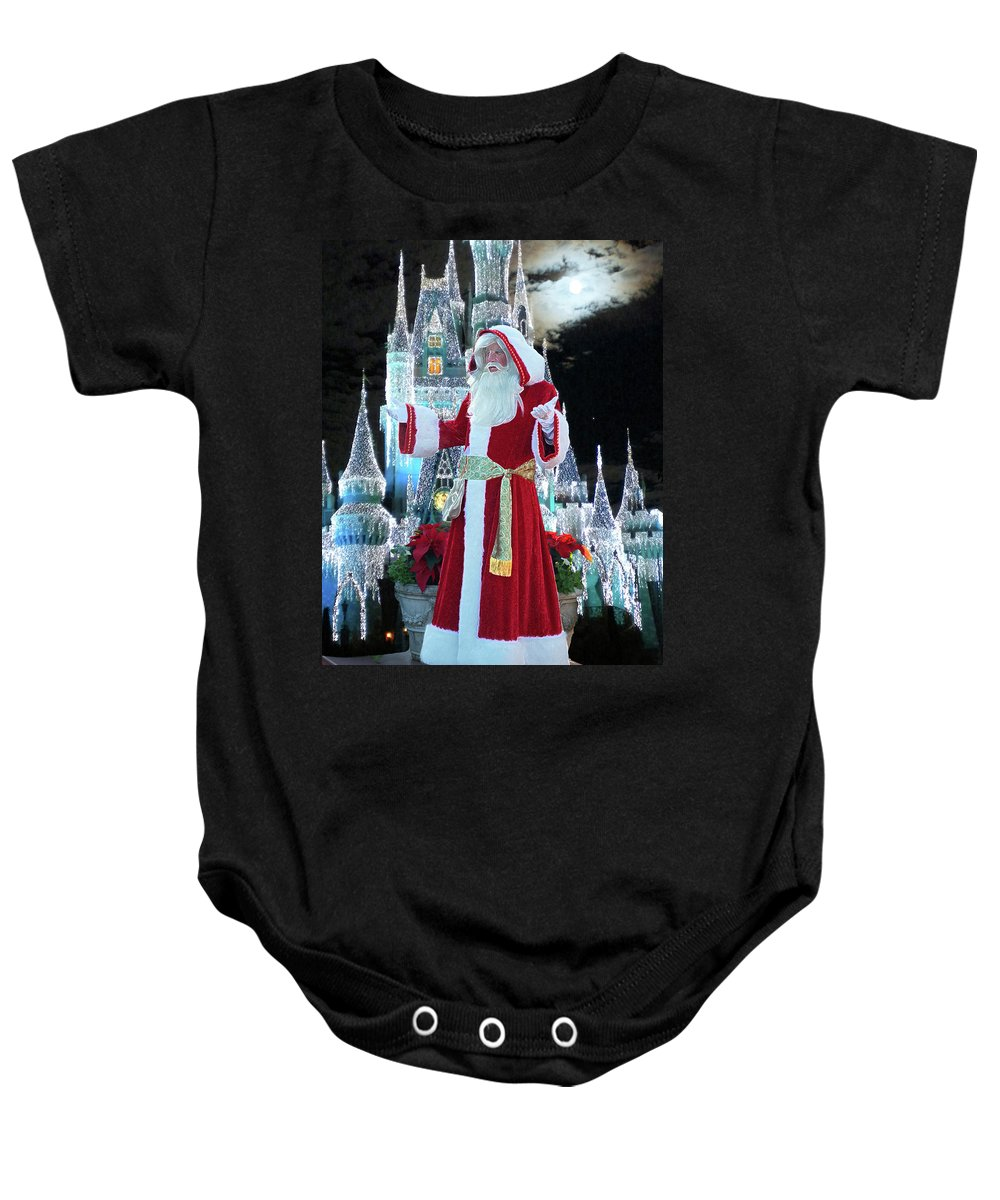 Variety Baby Onesie featuring the photograph Old Saint Nick Walt Disney World Digital Art 02 by Thomas Woolworth