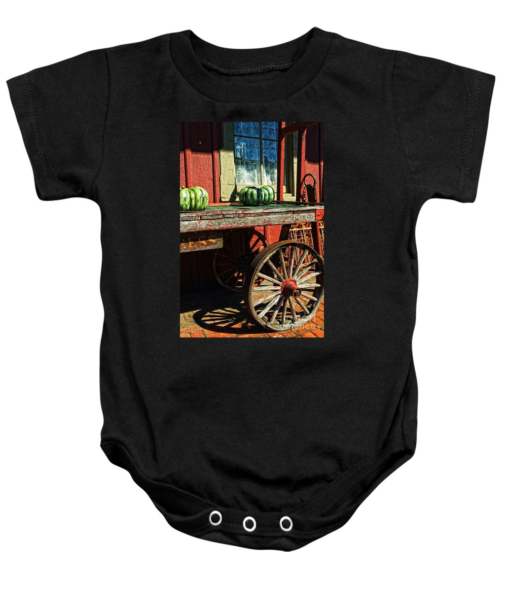 Railroad Baby Onesie featuring the photograph Old Station Cart by Paul W Faust - Impressions of Light