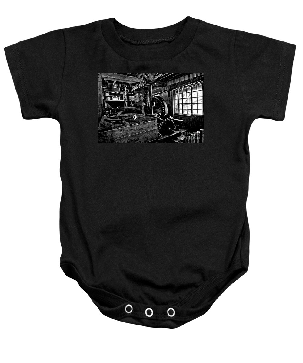 Grist Mill Gears Baby Onesie featuring the photograph Old Time Gears by Adam Jewell