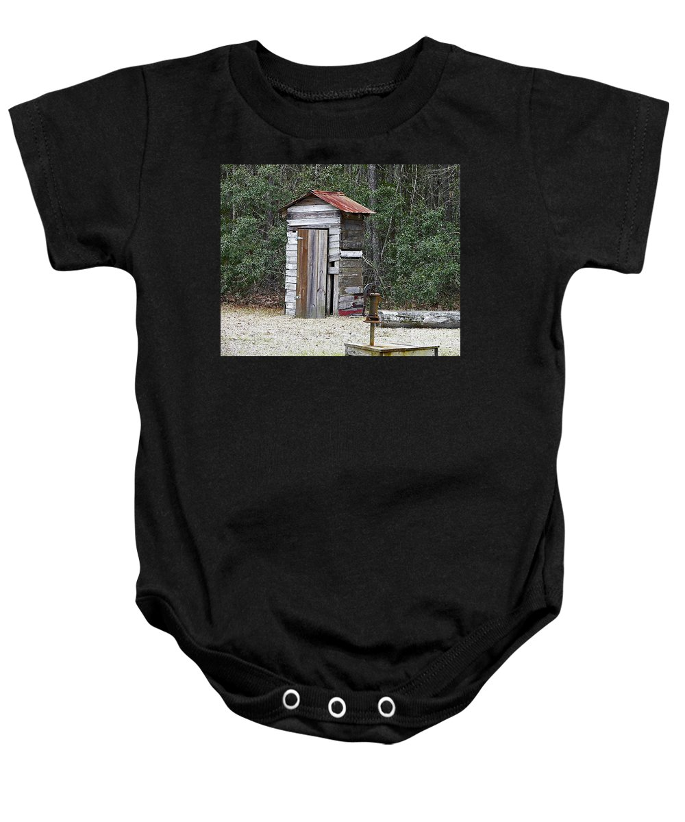 Outhouse Baby Onesie featuring the photograph Old Time Outhouse And Pitcher Pump by Al Powell Photography USA