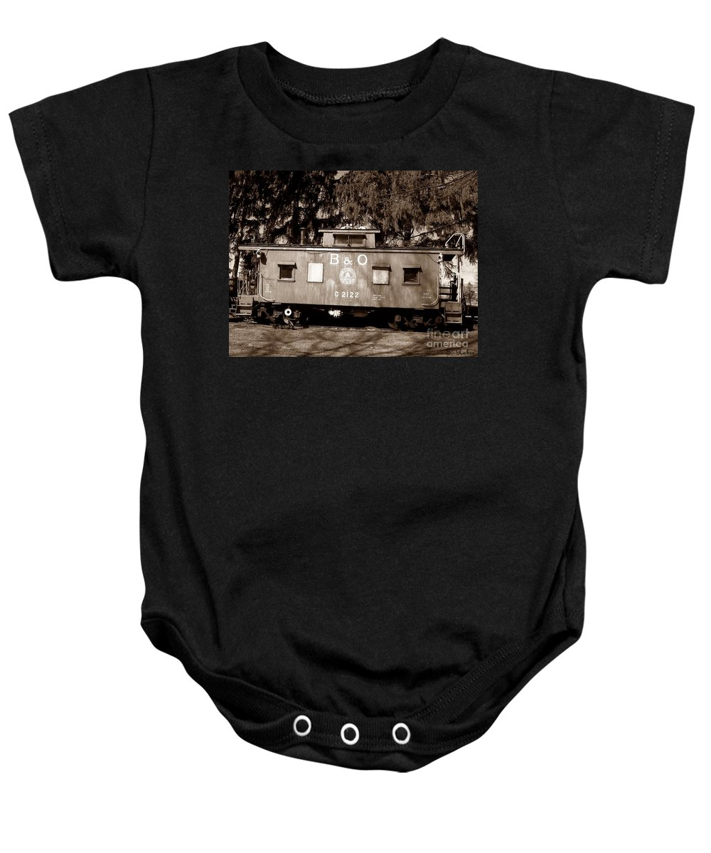 Train Baby Onesie featuring the photograph Old Timer by Sara Raber