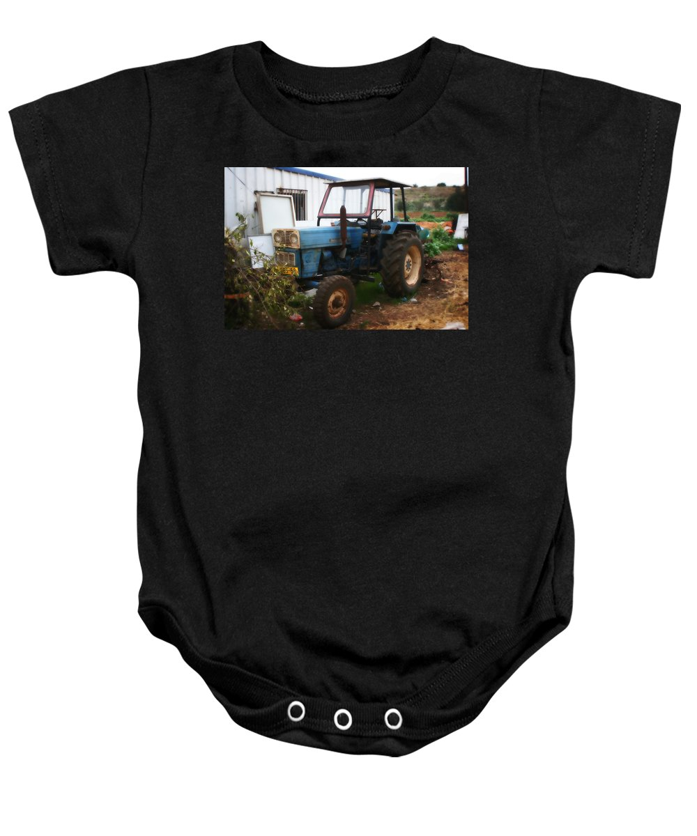 Farm Baby Onesie featuring the painting Old Tractor I by Doc Braham