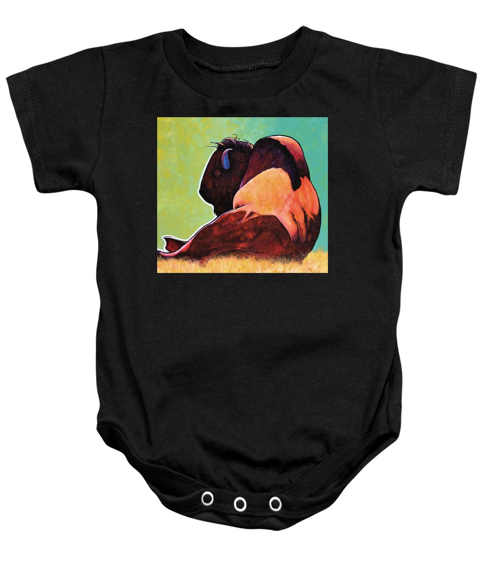 Wildlife Baby Onesie featuring the painting On Empty Bison by Joe Triano