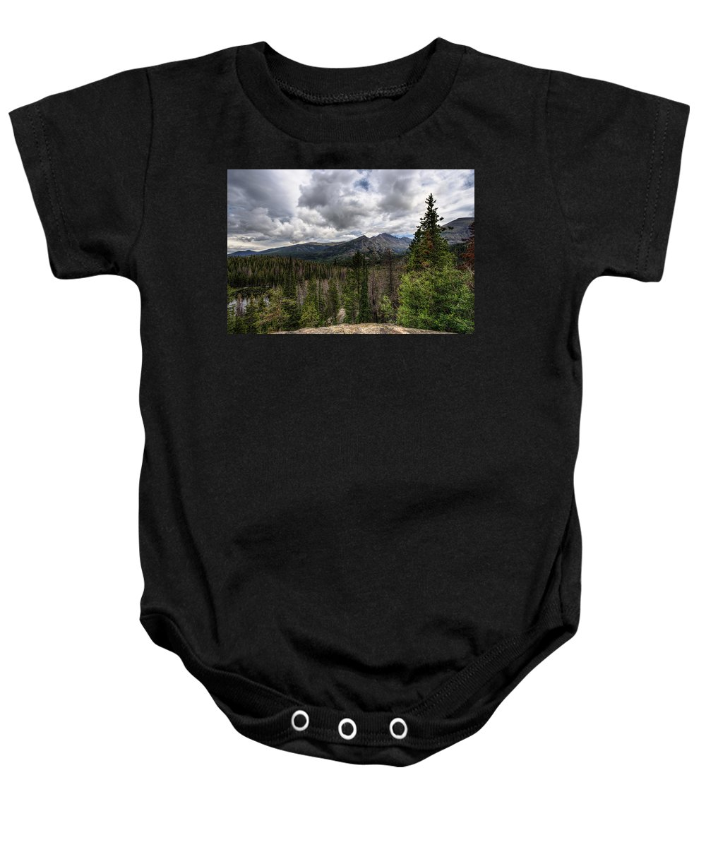 Rocky Mountain National Park Baby Onesie featuring the photograph On The Edge by Scott Wood