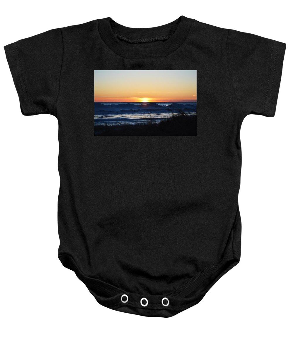 Ludington Baby Onesie featuring the photograph On The Horizon by Linda Kerkau