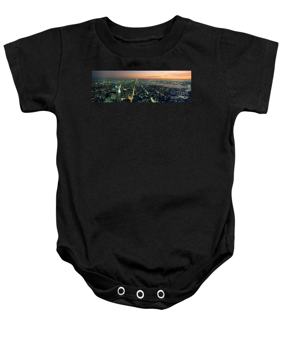 New York City Baby Onesie featuring the photograph On Top Of The City by Jon Neidert