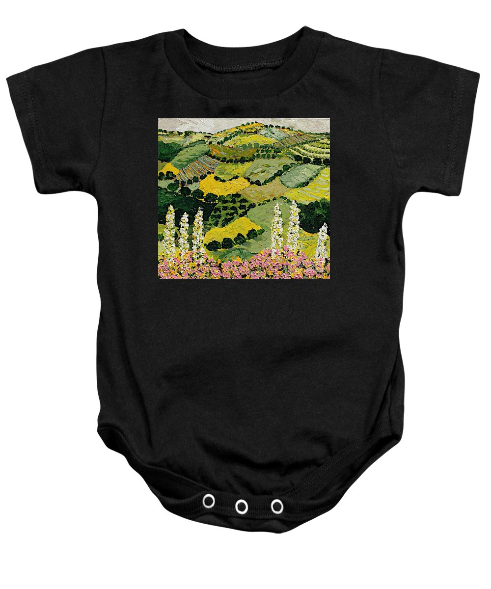 Landscape Baby Onesie featuring the painting One More Smile by Allan P Friedlander