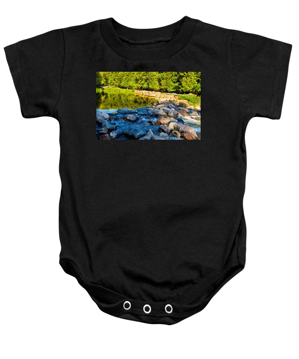 Gull Baby Onesie featuring the photograph One River - Three Flows by Les Palenik