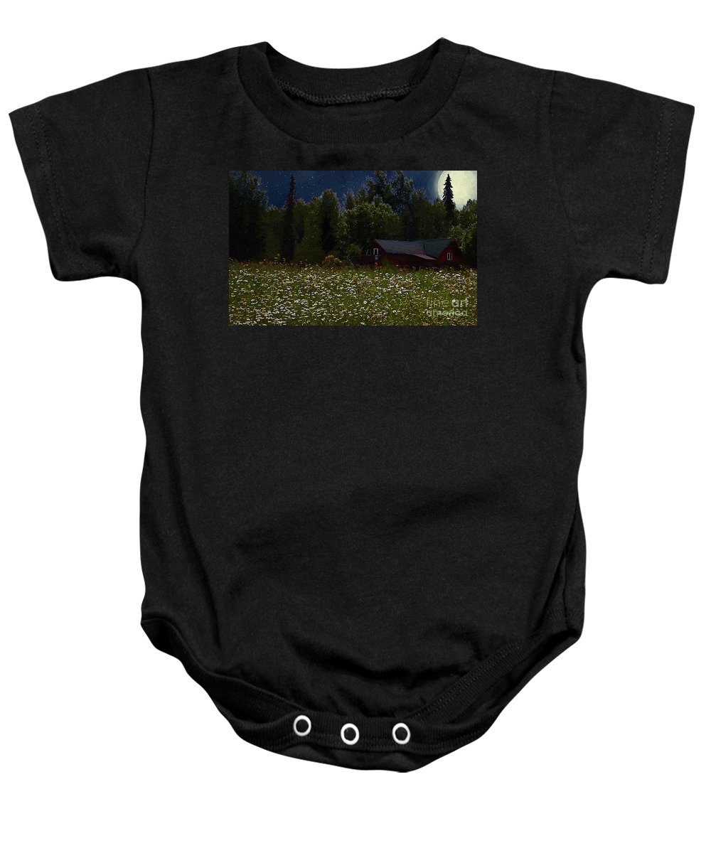 Meadow Baby Onesie featuring the painting One Starry Summer Night by RC DeWinter