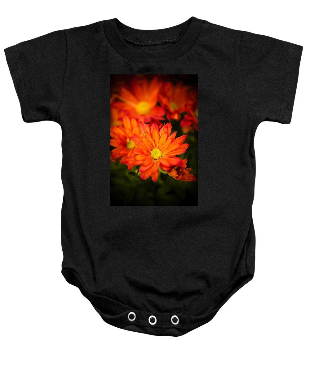Anthemon Baby Onesie featuring the photograph Orange Chrysanthemum by Mark Llewellyn