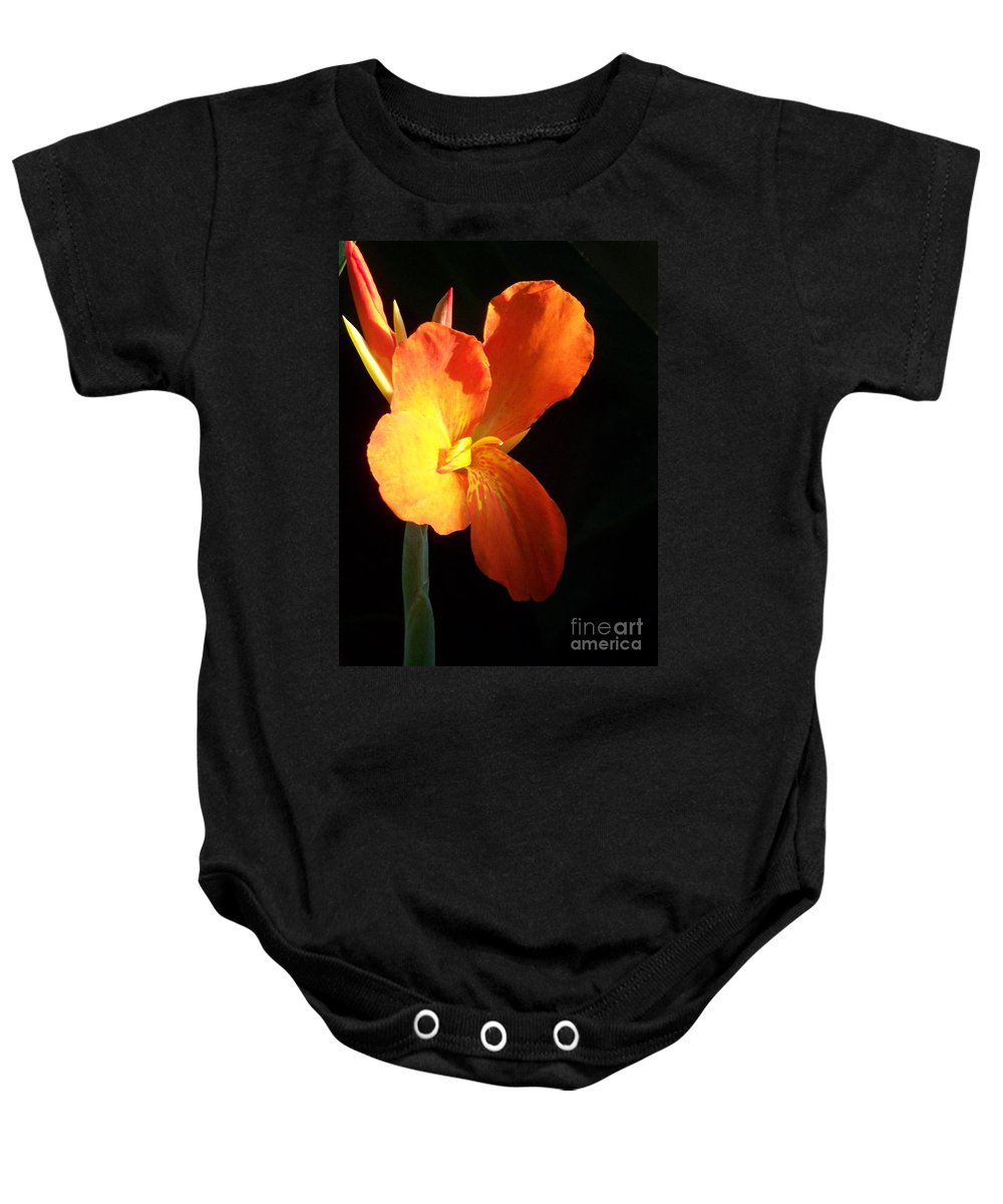 Garden Baby Onesie featuring the photograph Orange Flower Canna by Eric Schiabor