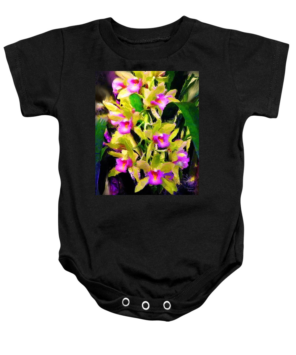 Orchids Baby Onesie featuring the painting Orchid Flower Bunch by Susanna Katherine