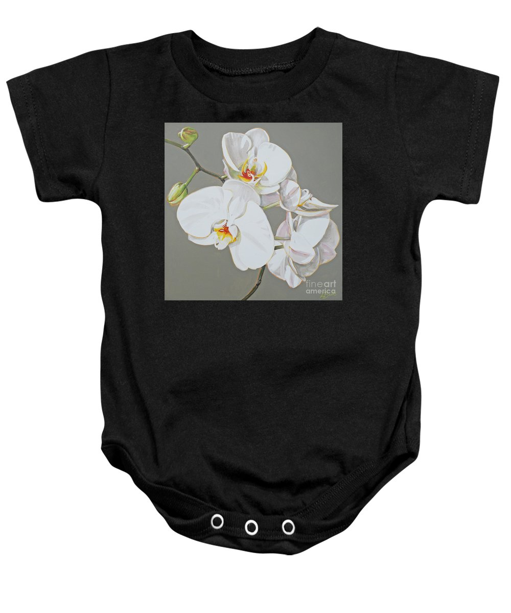 Flower Baby Onesie featuring the painting Orchid by Leigh Banks