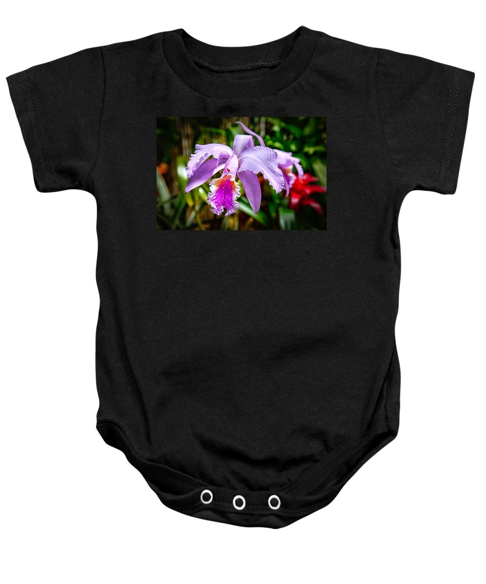 Flower Baby Onesie featuring the photograph Orchid Life by John Haldane
