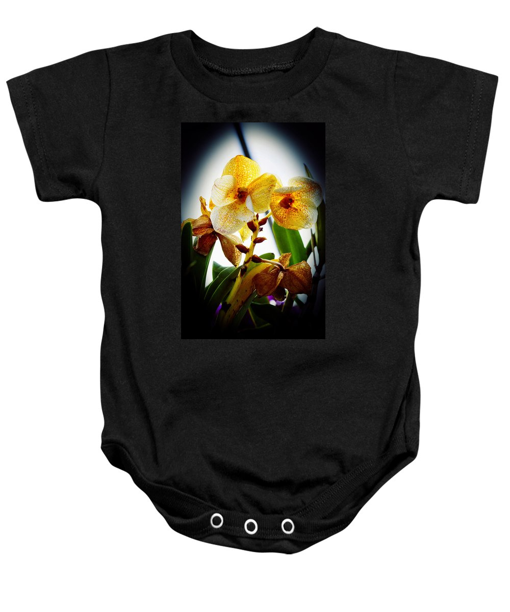 Orchid Baby Onesie featuring the photograph Orchid Vignette by Robert Storost