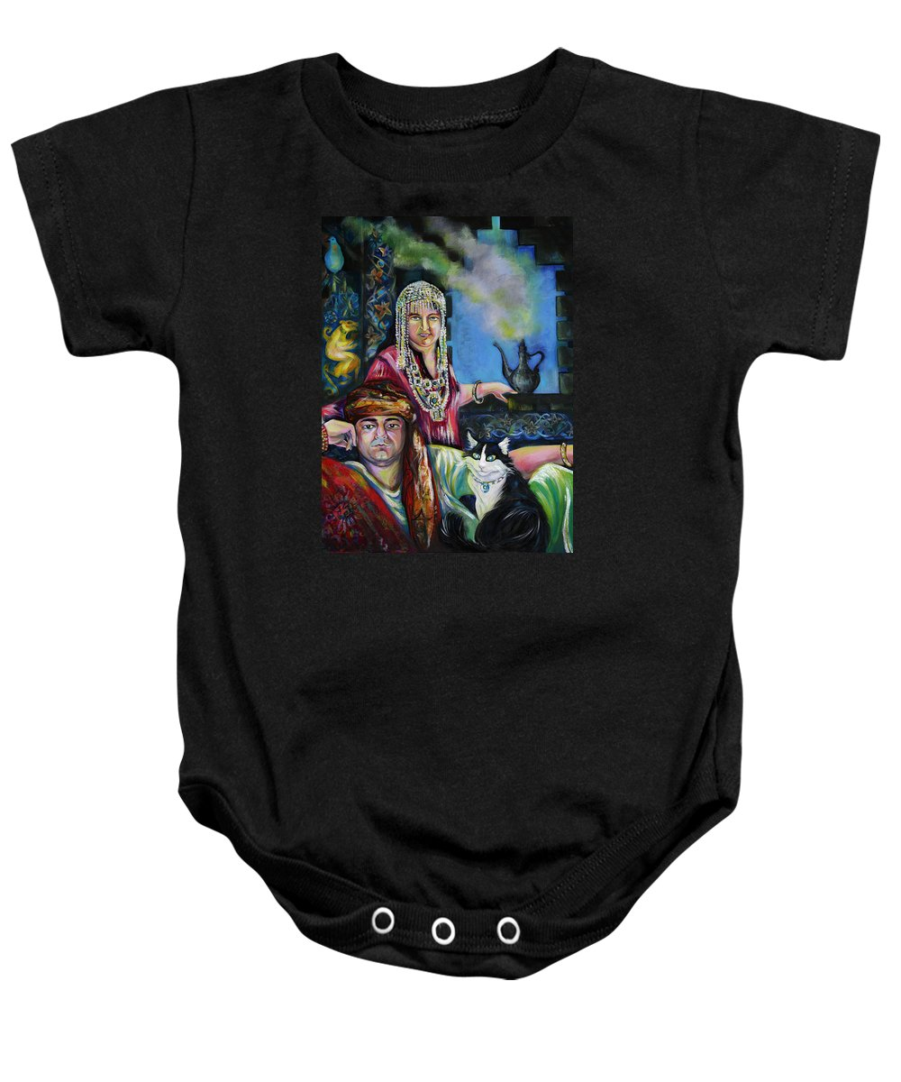 Group Portrat Baby Onesie featuring the painting Oriental Fairy Tale. First Part by Anna Duyunova