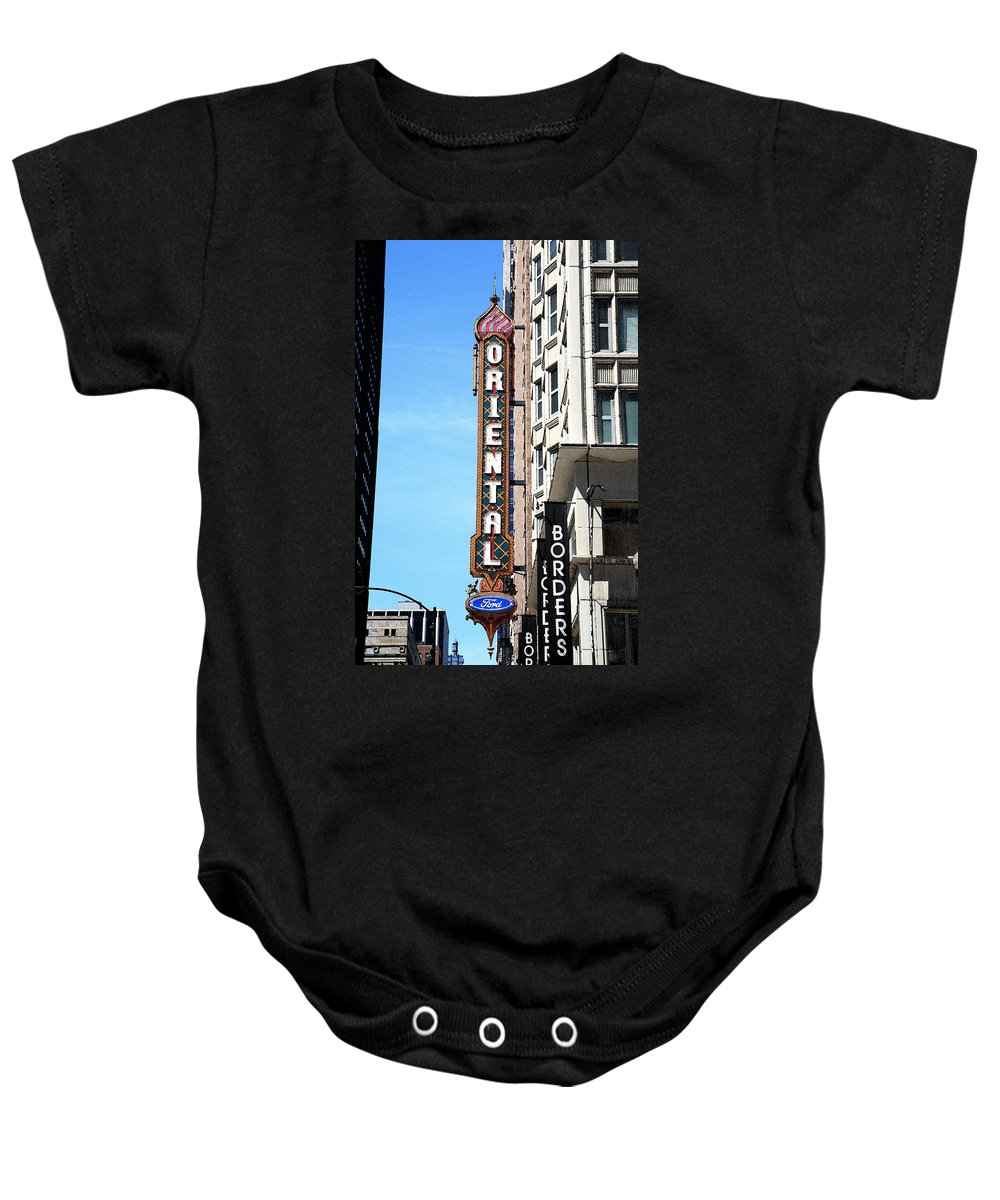America Baby Onesie featuring the photograph Oriental Theater With Watercolor Effect by Frank Romeo