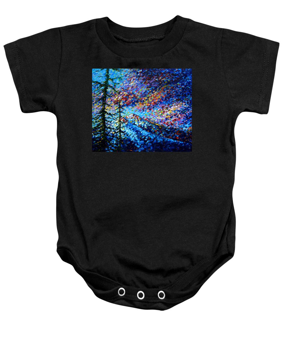 Abstract Baby Onesie featuring the painting Original Abstract Impressionist Landscape Contemporary Art By Madart Mountain Glory by Megan Duncanson