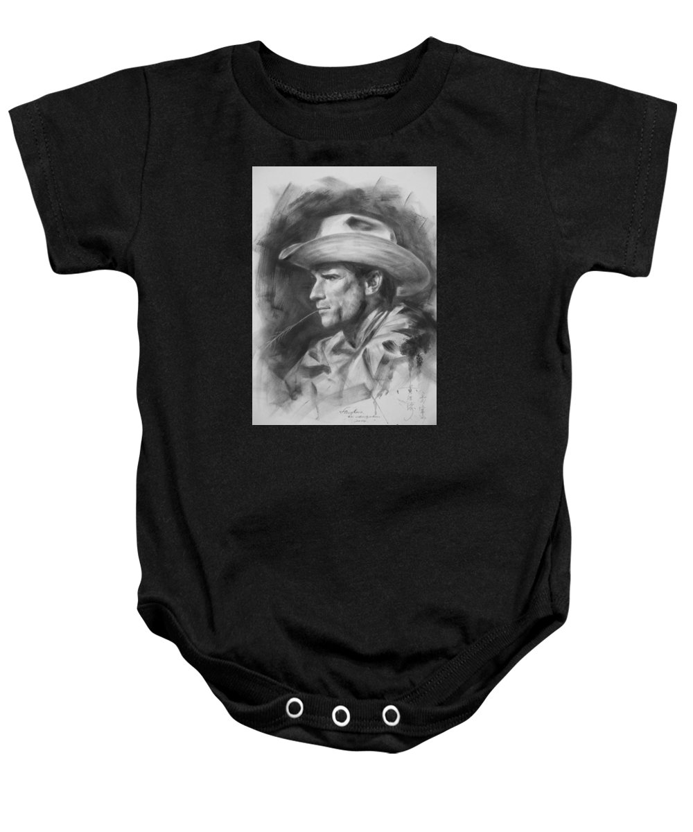 Pencil Baby Onesie featuring the painting Original Drawing Sketch Charcoal Chalk Gay Man Portrait Of Cowboy Art Pencil On Paper By Hongtao by Hongtao   Huang