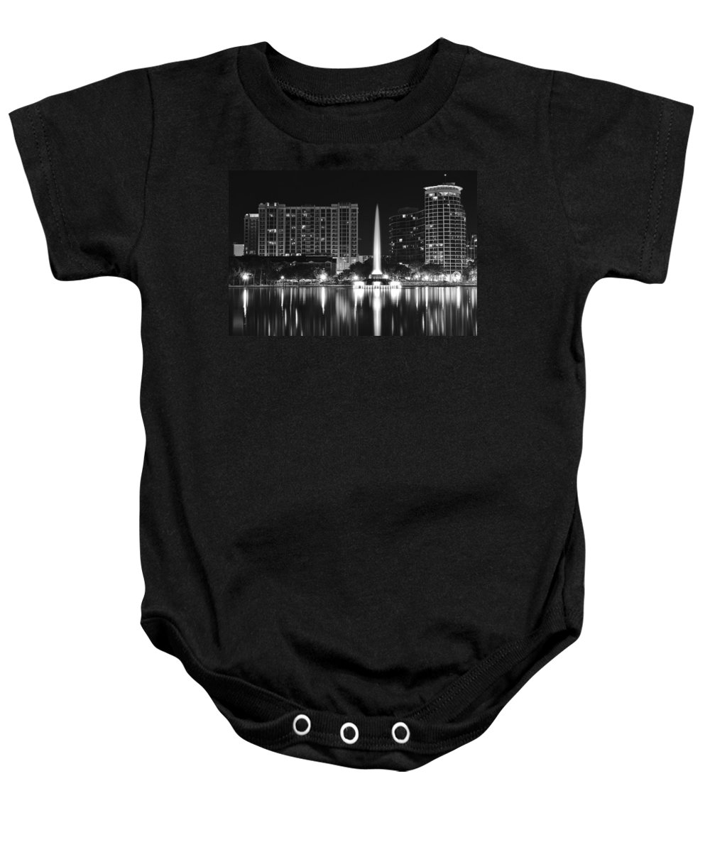 Orlando Baby Onesie featuring the photograph Orlando Black And White Night by Frozen in Time Fine Art Photography