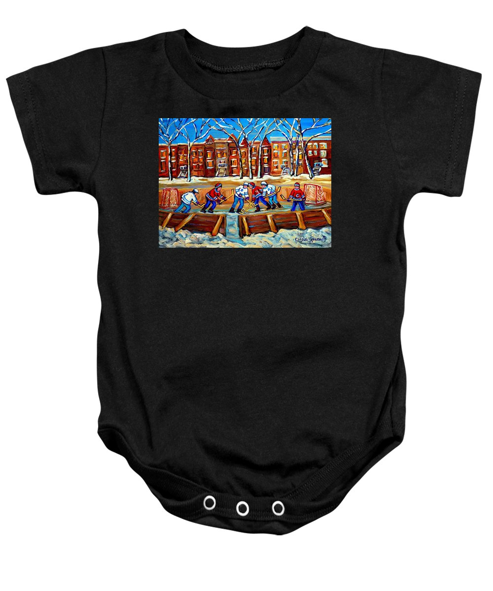 Montreal Baby Onesie featuring the painting Outdoor Hockey Rink Winter Landscape Canadian Art Montreal Scenes Carole Spandau by Carole Spandau