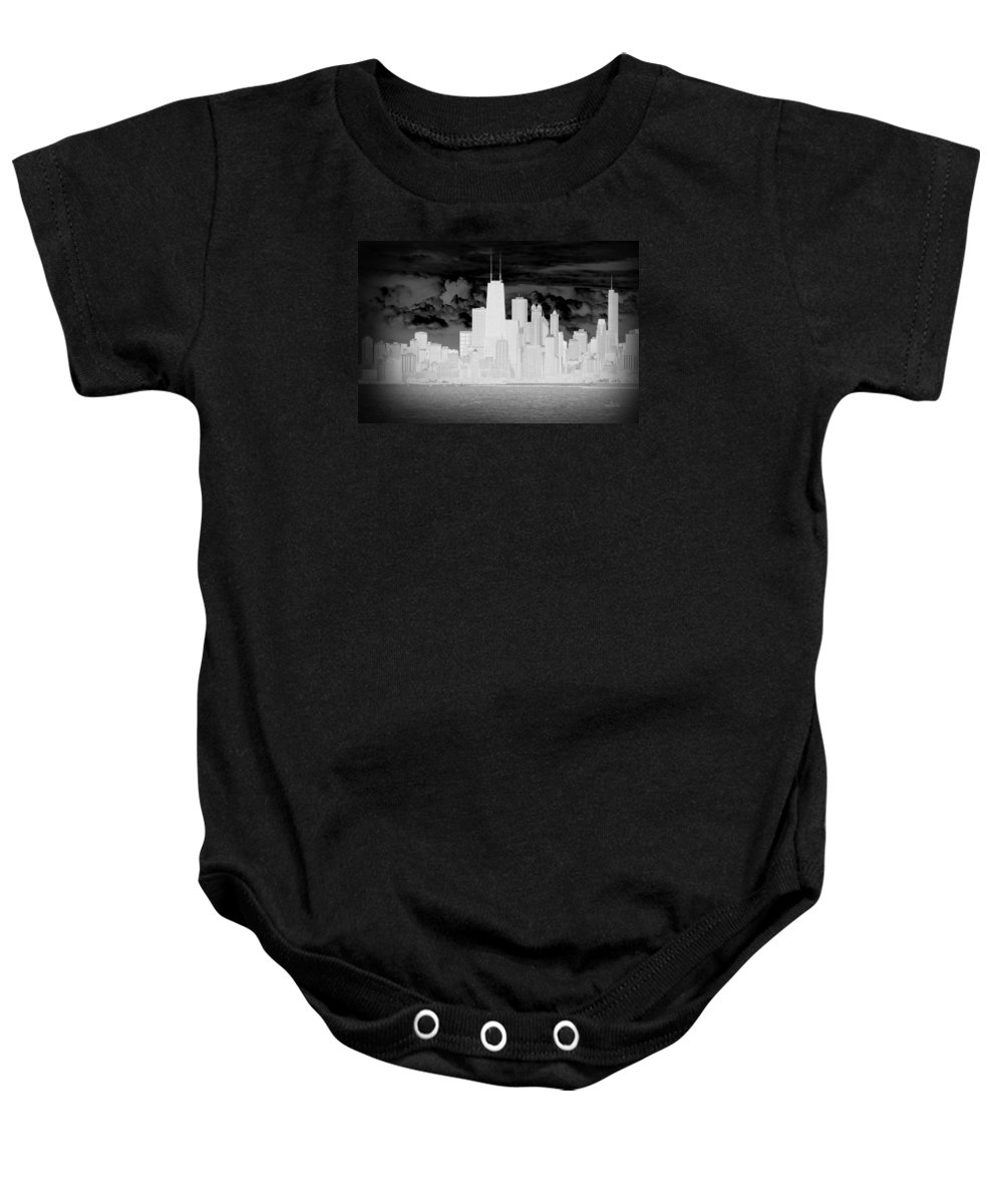 Architecture Baby Onesie featuring the photograph Outline Of Chicago by Milena Ilieva