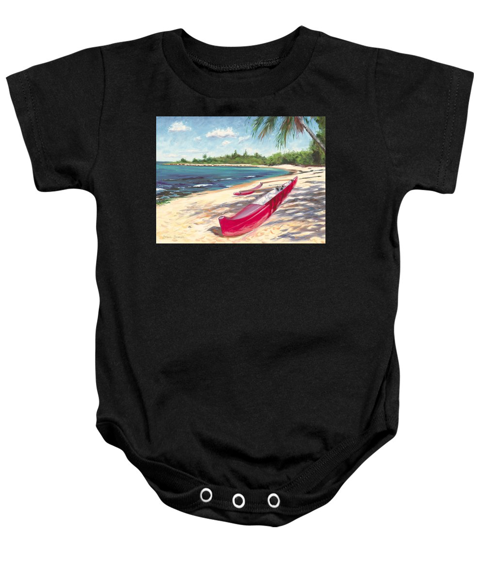 Outrigger Baby Onesie featuring the painting Outrigger - Haleiwa by Steve Simon