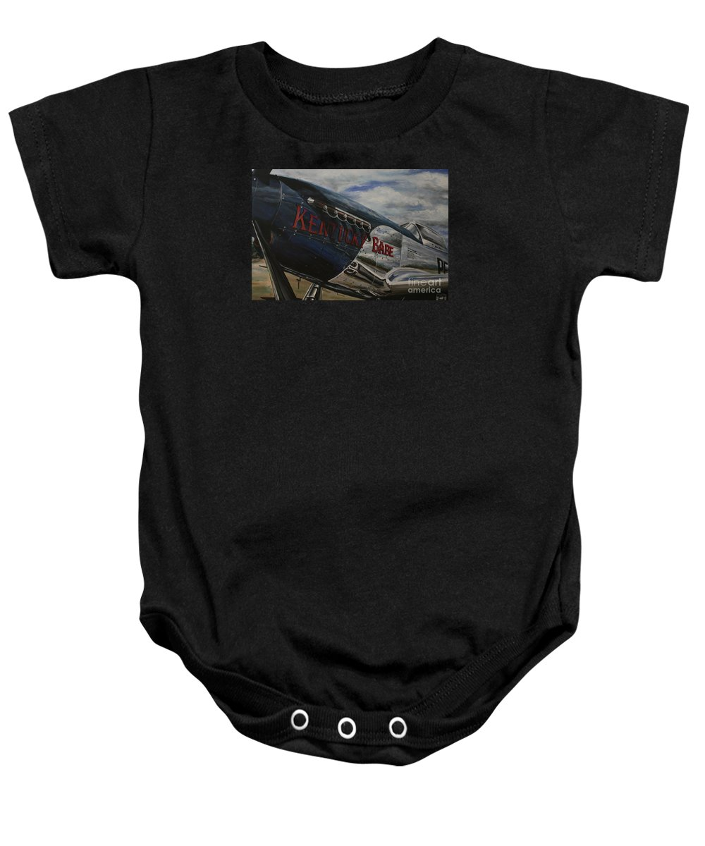 Warbirds Baby Onesie featuring the painting P51 Mustang Kentucky Babe Warbird by Richard John Holden RA