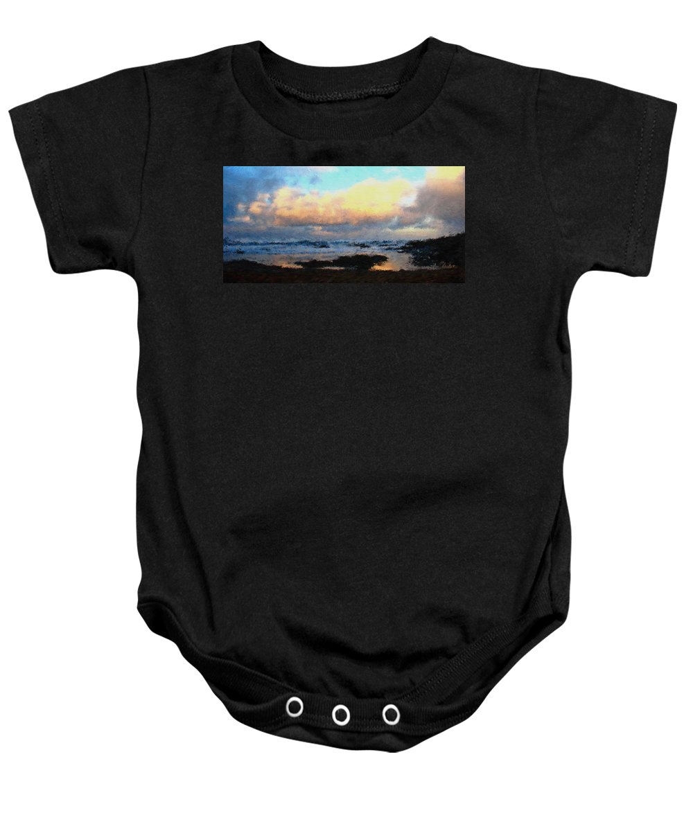 Pacific Baby Onesie featuring the digital art Pacific Morning by Jenny Armitage