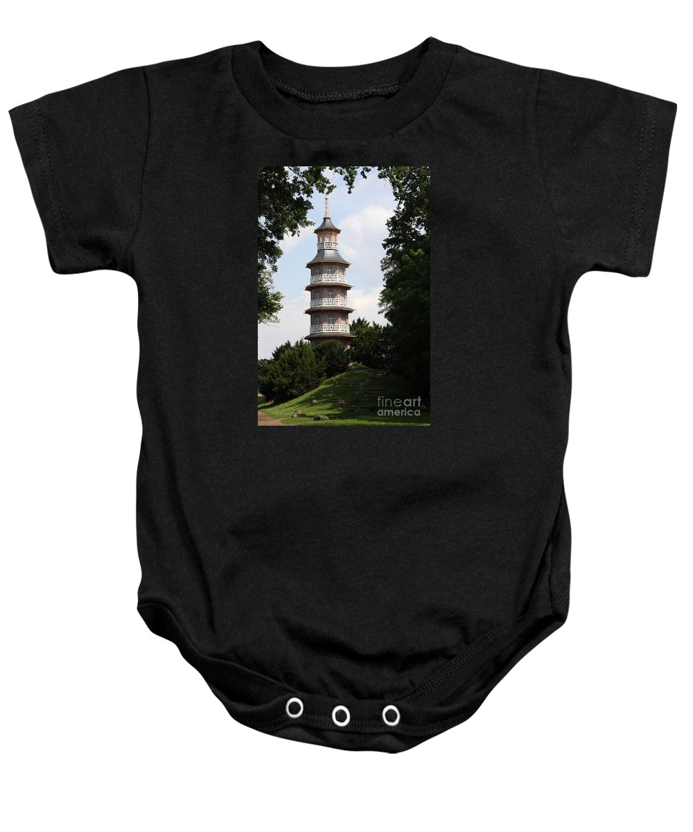 Pagoda Baby Onesie featuring the photograph Pagoda - Dessau Woerlitz by Christiane Schulze Art And Photography