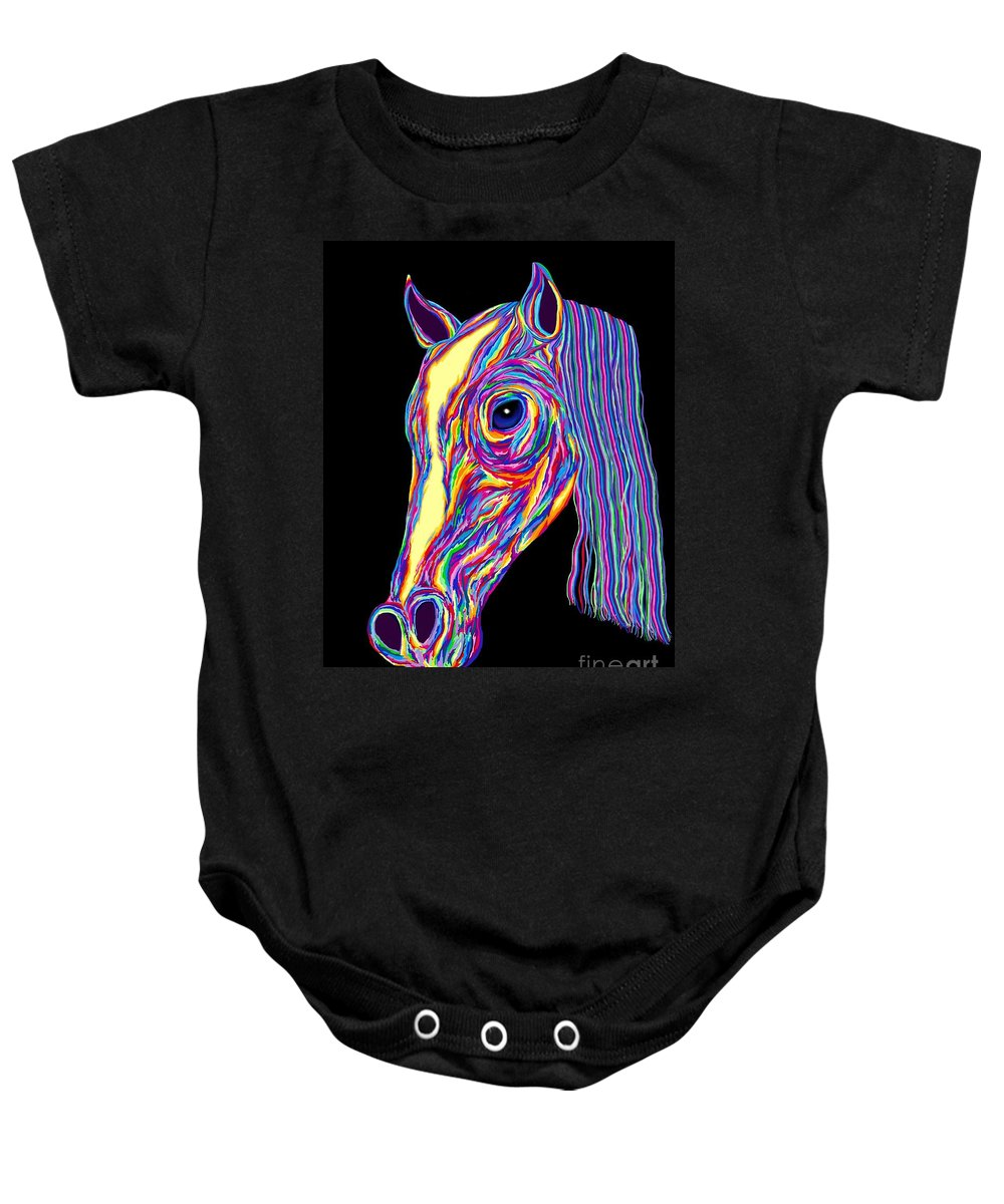 Pony Baby Onesie featuring the painting Painted Pony by Nick Gustafson