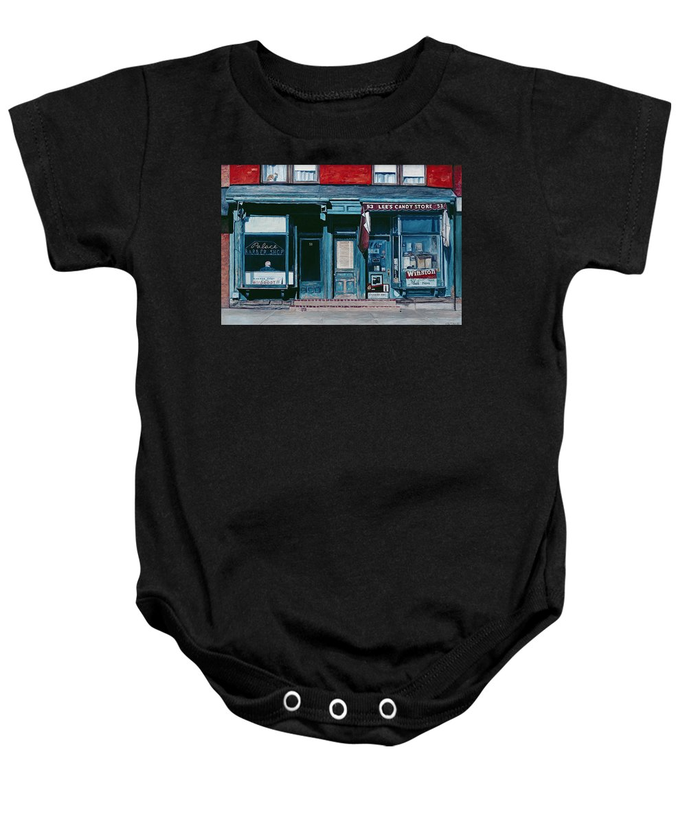 Facade Baby Onesie featuring the painting Palace Barber Shop And Lees Candy Store by Anthony Butera