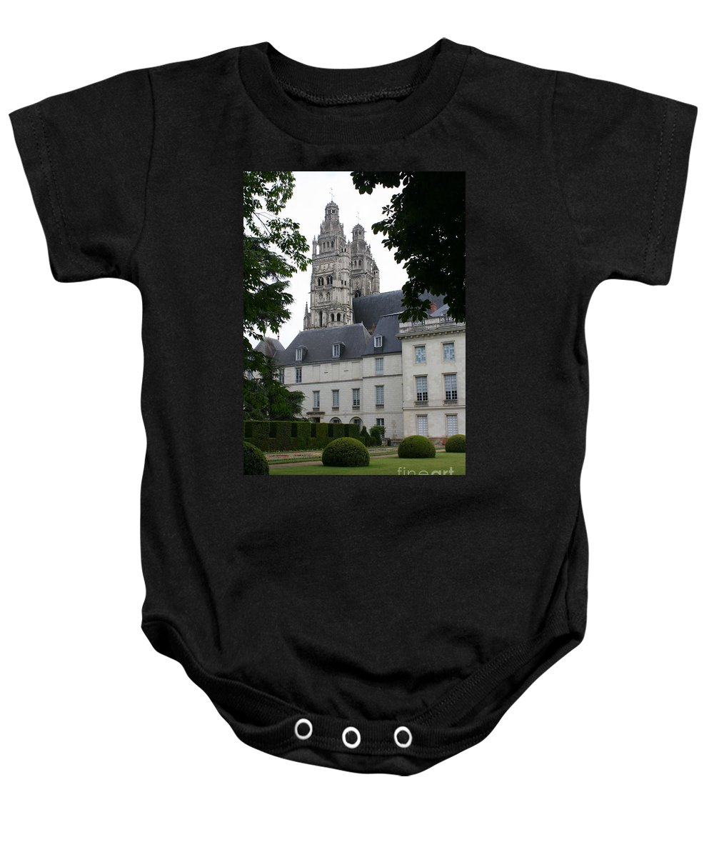Cathedral Baby Onesie featuring the photograph Palais In Tours With Cathedral Steeple by Christiane Schulze Art And Photography