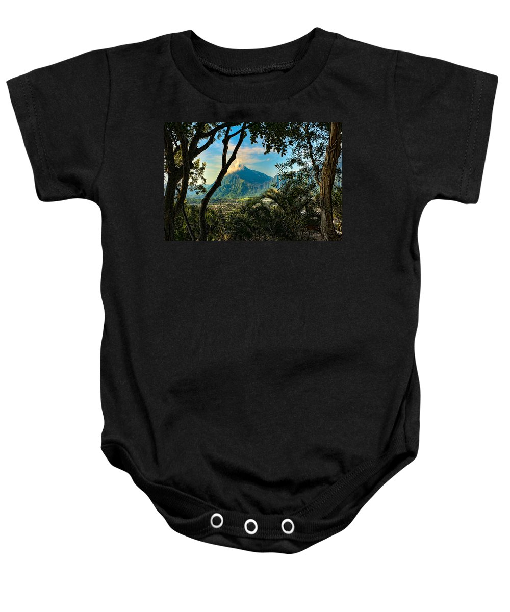 Hawaii Baby Onesie featuring the photograph Pali Lookout For Puu Alii by Dan McManus